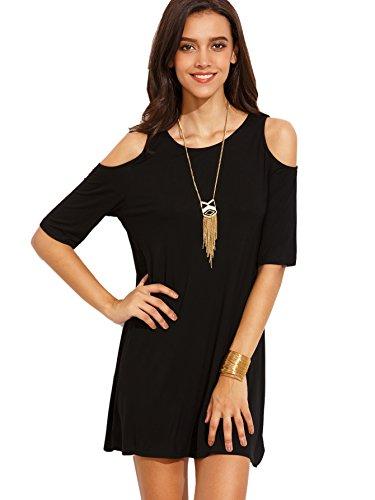 Women's Summer Cold Shoulder Tshirt Mini Dress Swing Tunic