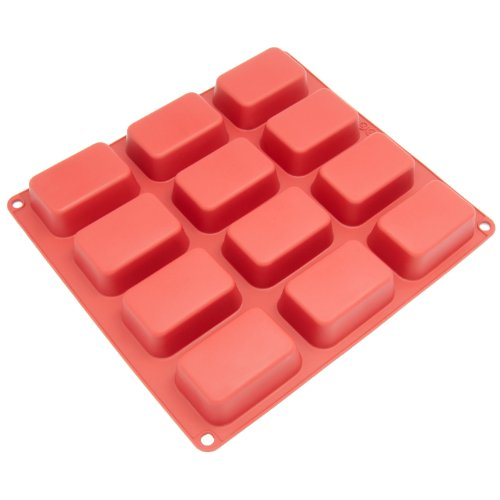 Bar Soap Mold - Freshware CB-105RD 12-Cavity Petite Silicone Mold for Soap, Bread, Loaf, Muffin, Brownie, Cornbread, Cheesecake, Pudding, and More