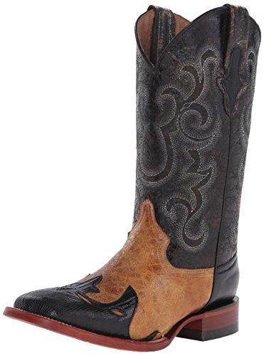 Ferrini Men's Lizard Wingtip Men Western Boot, Black, 9 D US - Lizard Wingtip