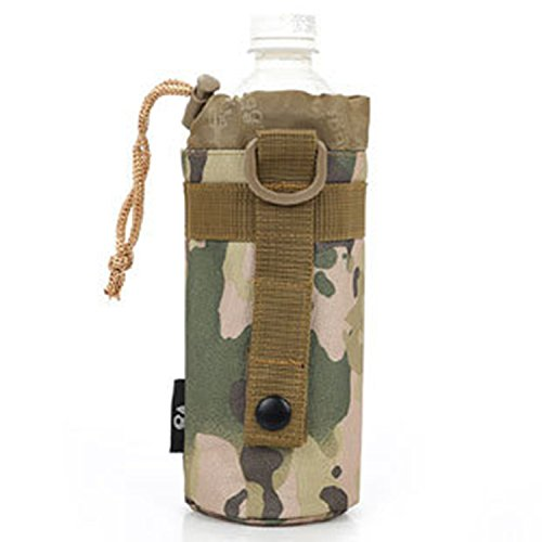 Ultra-light Tactical Military MOLLE Water Bottle Pouch, Drawstring Open Top Travel Water Bottle Bag For Outdoor Sports Hiking Rock Climbing (CP Camouflage)