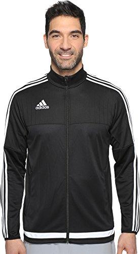 adidas Men's Soccer Tiro 15 Training Jacket, Black/White/Black, Large