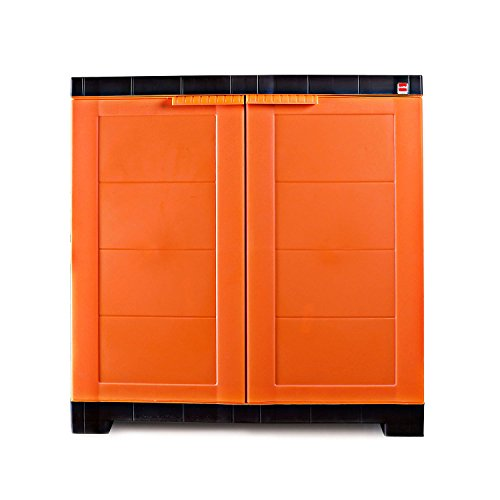 Cello Novelty Compact Plastic Cupboard with Shelf Orange and Brown