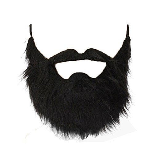 Lautechco 3pcs Fake Beard Black Bearded Man Funny Mustache Beard Flannel Halloween Party Props (Long Hair Beard Halloween Costumes)