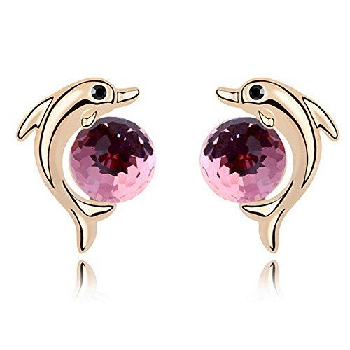 Pink Dolphin CZ Stud Earrings