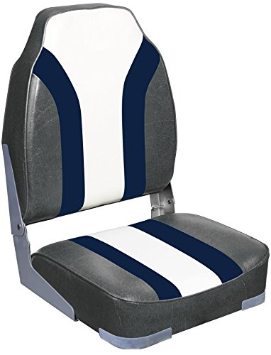 Leader Accessories High Back Rainbow Boat Seat (Charcoal/Blue/White)