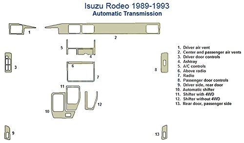 Isuzu Rodeo Full Dash Trim Kit, Automatic Transmission - Real Carbon Fiber