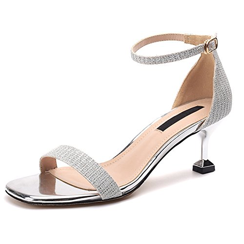 Ruiren Sandales pour Femmes Talons Hauts à Talon Ouvert Chaussures pour Dames Argent CqXwMw8