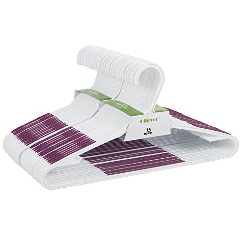 Ollieroo 30 Pack Bendable Plastic Hangers Light-Weight Non-Slip Clothes/Suit Hangers (Purple)