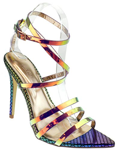 Anne Michelle Exception 09 Womens Strappy Pointed Toe Heeled Dress Sandals Unicorn 7