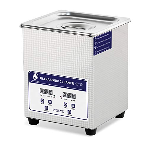 Skymen Ultrasonic Jewelry Cleaner 2L Ultra Sonic Cleaner Machine with Heating and Time Setting, Ultrasonic Bath Cleaning for Eyeglass, Denture, Silver Jewelry, Watches Metal Parts and Tools