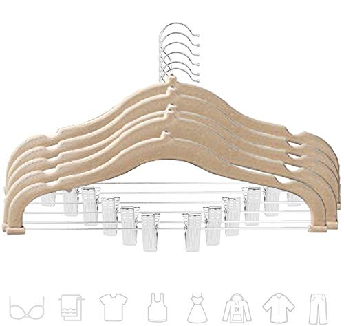 Premium Quality Velvet Pants Hanger Set of 26 - Ultra-Thin No Slip Velvet Skirts Hangers - Swivel Hooks, Space Saving Clothes Hangers - Great For Skirts, Dresses, Suits, Shirts & More - Slim IVORY by TechZoo (Image #1)
