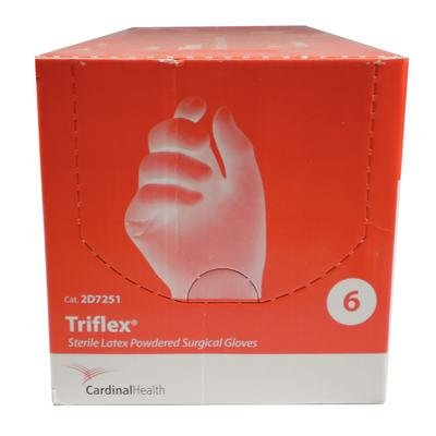 Cardinal Health 2d7251 Triflex Natural Rubber Latex Powder Free Sterile Surgical Gloves, Cream, Size 6 (Case of 200) by Cardinal Health (Image #1)