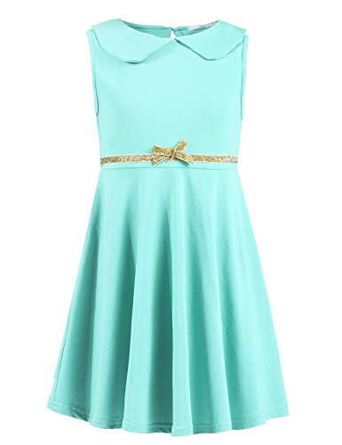 Arshiner Girls Sleeveless Doll Collar Dress Solid Color A Line Peter Pan Collar Cotton Dress,B-sapphire,120(Age for 6-7 years)