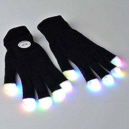 Flashing Panda LED Raver Gloves, 6 modes, RGB Multicolor, Black