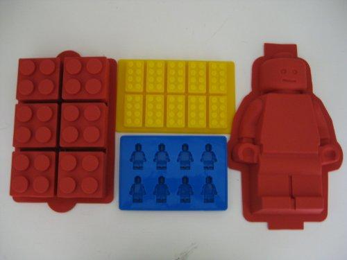 UPC 608938998385, Lego Minifigure Cake mold, Lego Brick Cake, Lego Brick Ice Tray and Lego Minifigure Ice Tray Set of all 4 molds