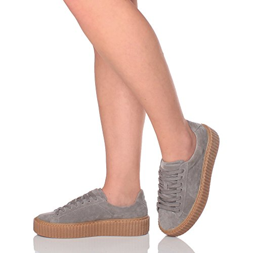 Ajvani Womens Ladies Platform Flatform Wedge Lace up Trainers Creepers Shoes Size Grey Suede 7hnOybSUu6