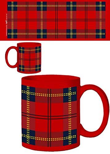 1art1 Dessins Dessin Carreaux Tartan écossais Rouge Tasse à
