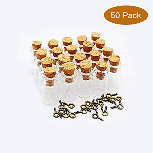 Healthcom 0.5ML Vials Clear Glass Bottles Mini Tiny Jars Bottles With Corks Miniature Glass Bottle With Cork Empty Sample Jars Small,50 Bottles + 50 Screws for $<!--$8.59-->