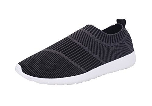 T&Mates Mens Slip-Ons Elastic Comfort Knitted Vamp Fashion Sneakers for Sport Walking Exerices (7.5 B(M) US,Black)