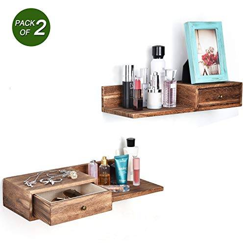 Emfogo Floating Shelves with Drawer Rustic Solid Wood Wall Storage Shelf for Organization and Display Multiuse as a Nightstand or Bedside Shelf Set of 2 Carbonized Black (Drawers With Wood Nightstands)