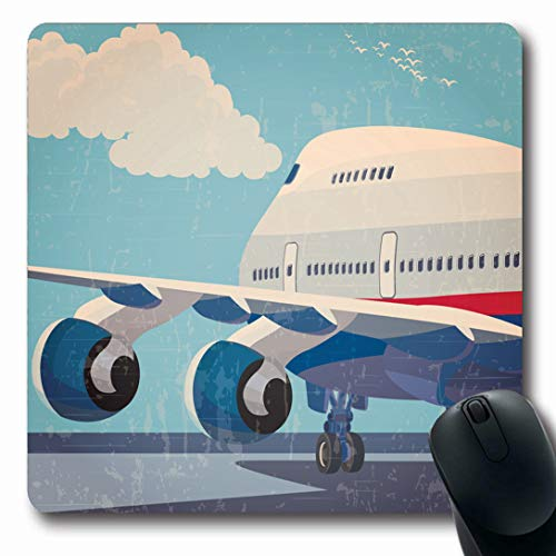 (Ahawoso Mousepads for Computers Travel Blue On Civil Airplane Vintage Retro Aviation Plane Jet Airport Design Approach Oblong Shape 7.9 x 9.5 Inches Non-Slip Oblong Gaming Mouse Pad)