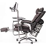 Gaming Office Chair, Ergonomic Design Adjustable Height Well Padded Footrest and Lumbar Cushion with Padded Deck Chair