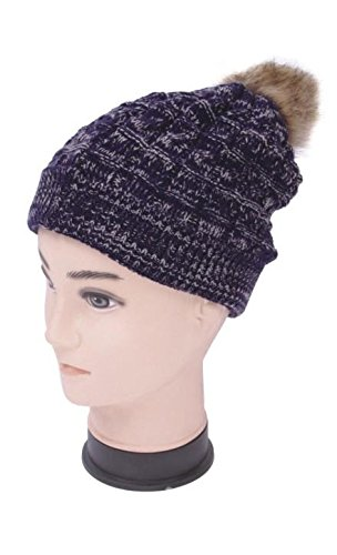 Unisex Premium Knitted Faux Fur PomPom Slouchy Beanie Hat with colored Weave Accent and Warm Fur Lining - Navy Blue with White (Burgundy Felt Bonnet)