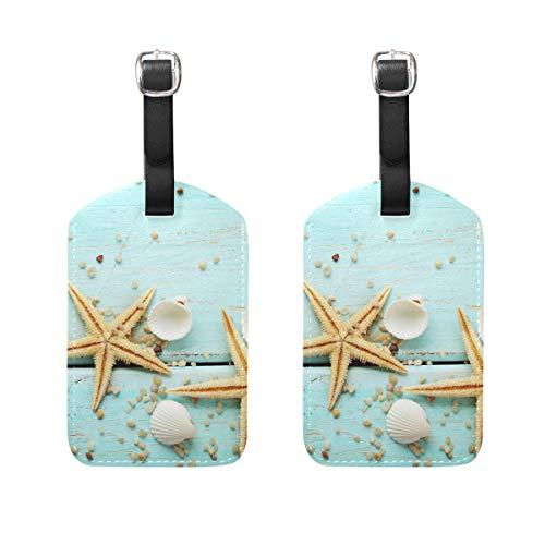 Luggage Tags Marine Starfish Seashells Womens Bag Suitcase Tags Holder traveling accessories Set of 2