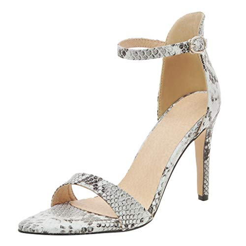 - Women Summer Fashion Snakeskin Sandals Open Pointy Toe Stiletto High Heel Ankle Strap Sexy Dress Shoes by Lowprofile White