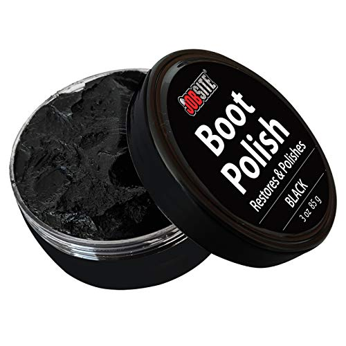 (JOB SITE Jobsite Premium Leather Boot & Shoe Polish Cream - Restores, Conditions & Polishes - Black - 3 oz)
