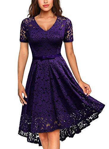 MISSMAY Women's Vintage Floral Lace Tie Waist V Neck Cocktail Party Swing Dress XX-Large Purple