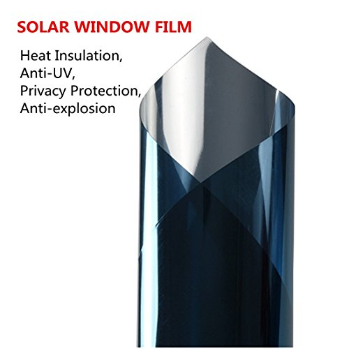 Soqool One Way Mirror Window Tint Daytime Privacy Window Film Self Static Privacy Solar Film Heat Contral and Anti-UV Mirrored Tint for Home/Office/Building Window Glass, 23