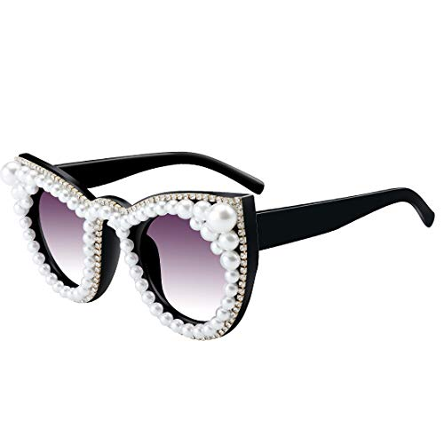 Sparkle Shades - ROYAL GIRL Women Pearl Sunglasses Rhinestones Oversized Cat Eye Shades Retro Crystal Jeweled Glasses for Party Black Lens