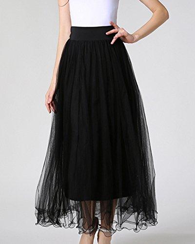Faldas Mujer Largos Elegantes Maxi Multilayer Tul De Noche Fiesta Boda Falda Tutu Negro