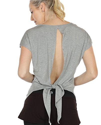 icyzone Sexy Yoga Tops Workout Clothes Racerback Tank Top for Sport Women (S, Grey2) - Gym T-shirt Workout