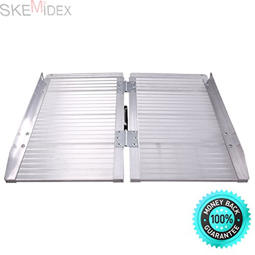 SKEMiDEX---2' Aluminum Fold Portable Wheelchair Ramp Mobility Handicap Suitcase Threshold. It's great for wheelchairs, curbs, low stairs, porches, into van side doors and (2' Threshold Ramp)