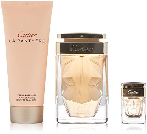 Cartier La Pathere G/set w/ Eau De Parfum Spray 75 Ml/2.5 Oz+ Perfumed Body Cream 100 Ml/3.3 Oz + Eau De Parfum Mini 6 Ml/0.2 Oz. ()