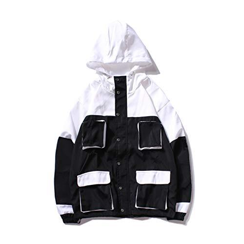 AITFINEISM Men's Fashion Lightweight Hoodie Zip-up Letter Windbreaker Jacket (Large, Black XK) ()