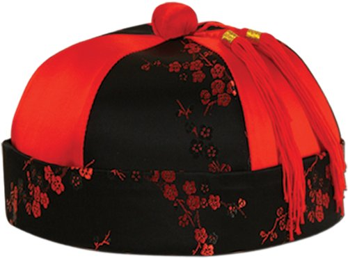 Mandarin Hat - One Size Fits Most - 12 Pack [12 Pieces] - Product Description - Traditional Red And Black Mandarin Hat With Flowery Design And Small Braids. Soft And Comfortable Material Allows Easy Wearability For Long Time. Full Head Size All (Mandarin Hat With Braid)