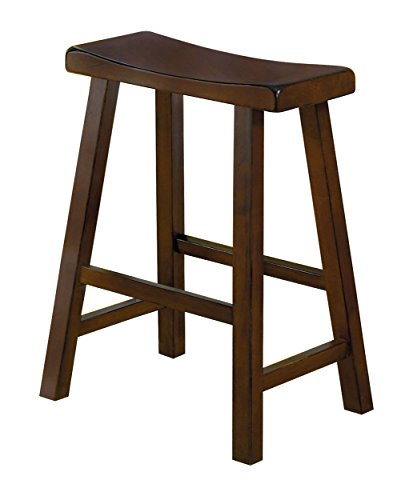 Medium Cherry Seat - Homelegance 5302C-24 Saddleback 24-Inch Height Barstool, Cherry, Set of 2