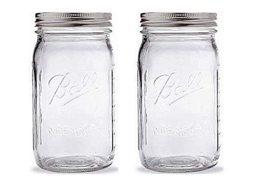 Buy ball quart jar with silver lid, wide mouth, set of 2