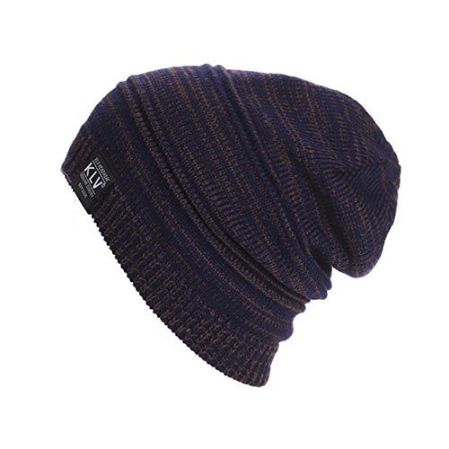 Perman Men Women Unisex Knit Baggy Beanie Winter Hat Ski Slouchy (One size, Coffee)