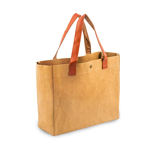 Bag,Kraft Paper Bags, Waterproof Grocery Bag with Snap Closure, Vintage Style Heavy Duty Environmental Protection Bag ()
