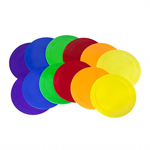 Ace Creations 9 Inch Poly Vinyl Spot Markers – For Training and Drills – Set of 12 – Two of Each Red, Green, Orange, Purple, Blue, and ()