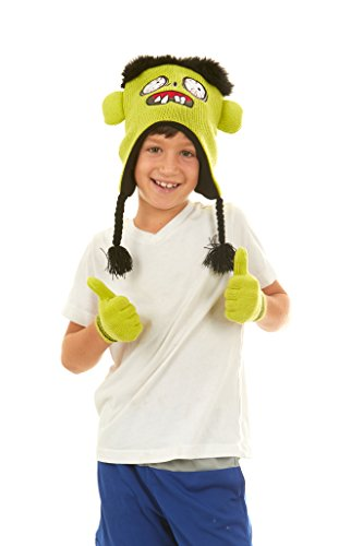 Polar Wear Boys Monster Knit Ear Flap Winter Beanie Hat & Gloves Set Lime (Flat Bill Hat Monster)