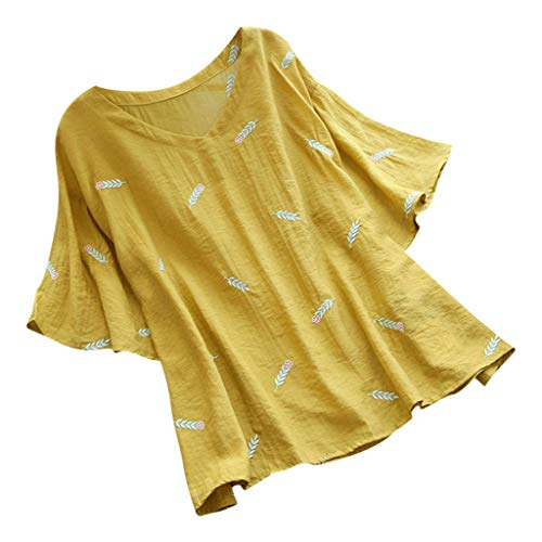 Smdoxi Summer Fashion Women's Casual Loose Classic Print Shirt Shirt Comfortable T-Shirt Yellow ()