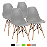 #10: Furmax Pre Assembled Mid Century Modern Style Dining Chair Eames Effiel Modern DSW Chair, Shell Lounge Plastic Chair for Kitchen, Dining, Bedroom, Living Room Side Chairs(Set of 4) (Grey)