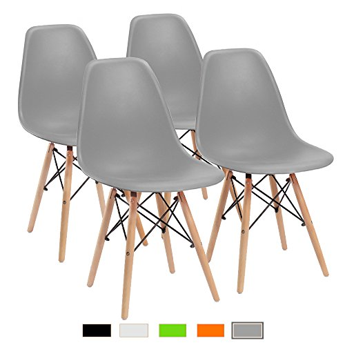 Furmax Pre Assembled Modern Style Dining Chair Pre Assembled Mid Century Modern DSW Chair, Shell Lounge Plastic Chair for Kitchen, Dining, Bedroom, Living Room Side Chairs(Set of 4)(Grey)