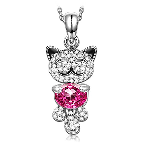 Cat Pendant Lucky - QIANSE Necklaces for Women Lucky Cat Pendant Necklaces for Women 925 Sterling Silver Swarovski Crystal Animal Cat Jewelry for Girls Birthday Graduation Gifts for Teenager Daughter Granddaughter