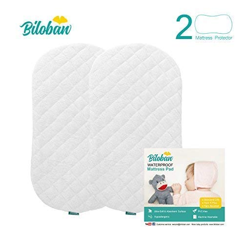 Bassinet Mattress Pad, Waterproof, Fits for Hourglass/Oval Bassinet Mattress, 2 Pack, Bamboo, Washer& Dryer, No Loosen and No Shrink